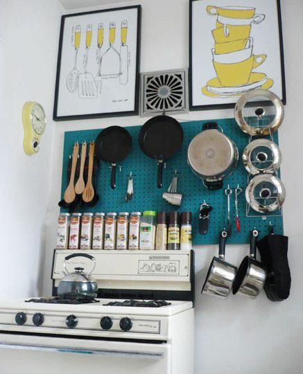 pegboard blue small kitchen